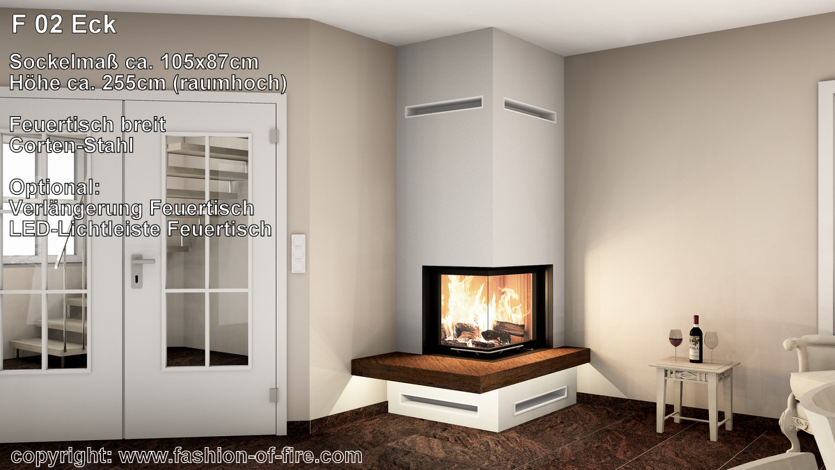 eckkamin fashion of fire f02 mit brunner kamin und naturstein. Black Bedroom Furniture Sets. Home Design Ideas