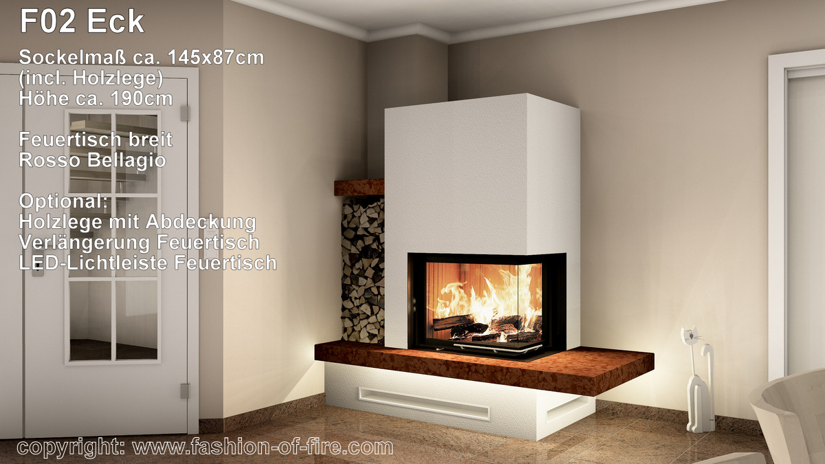 eckkamin fashion of fire f02 mit brunner kamin und naturstein. Black Bedroom Furniture Sets. Home Design Ideas