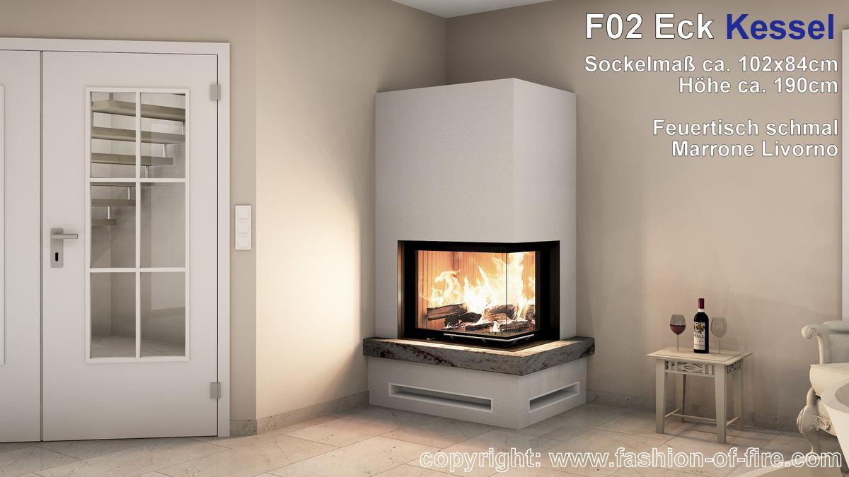 Fashion of Fire F02 Kessel Eckeinbau mit Brunner Eckkamin